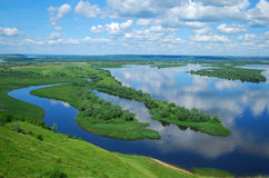 Paisaje en el río Volga Imágenes de archivo libres de regalías