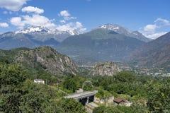 Paisaje en el Susa Valley, Piamonte de la montaña fotografía de archivo libre de regalías