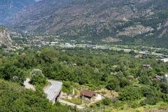 Paisaje en el Susa Valley, Piamonte de la montaña foto de archivo libre de regalías