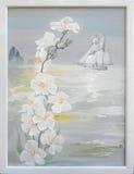 Paisaje en la bahía de Douarnenez Pintura al óleo en lona Foto de archivo libre de regalías