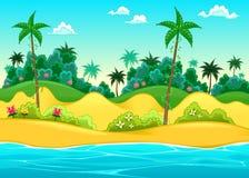 Paisaje en la costa stock de ilustración