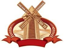 Paisaje en marco con un molino de viento Foto de archivo libre de regalías