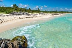 Paisaje en Playa del Carmen, Yucatán, México del mar del Caribe Fotos de archivo