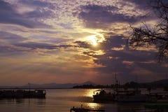 Paisaje Eretria Euboea Grecia del mar de la puesta del sol Fotos de archivo