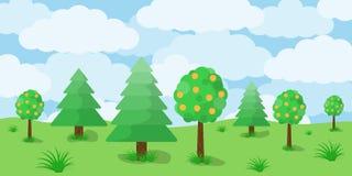 Paisaje escénico con los árboles en el prado Ilustración del vector ilustración del vector