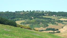 Paisaje escénico de Hilly Tuscany con el viñedo y tierras de labrantío almacen de video