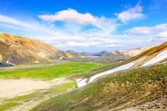 Paisaje escénico de la montaña en Islandia Landmannalaugar, reserva de naturaleza de Fjallabak Fotos de archivo