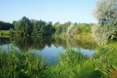 Paisaje escénico de la naturaleza cielo azul de Ucrania, lago europe y del bosque del lago fotos de archivo libres de regalías
