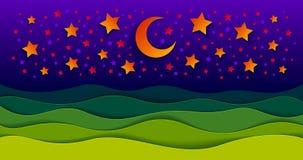 Paisaje escénico de la naturaleza del prado de la hierba verde en la noche debajo stock de ilustración