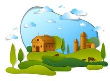 Paisaje escénico de los edificios agrícolas entre árboles de los prados y de las nubes en el cielo, ejemplo del vector de la natu stock de ilustración