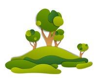 Paisaje escénico de prados y árboles, campos del verano y grassla stock de ilustración
