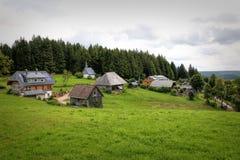 Paisaje escénico del campo en el bosque negro: valle verde de la montaña del verano con los bosques, los campos y las casas vieja Fotografía de archivo