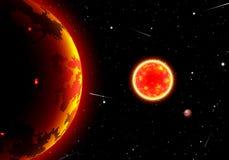 Paisaje escénico del espacio con el sol o estrella y planetas o satélites libre illustration
