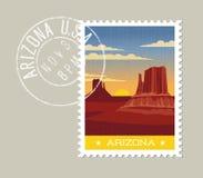 Paisaje escénico del valle del desierto de Arizona stock de ilustración