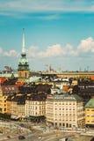Paisaje escénico del verano de la ciudad vieja en Estocolmo Fotografía de archivo libre de regalías