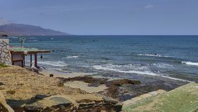 Paisaje escénico en la isla de Lanzarote en el Océano Atlántico imágenes de archivo libres de regalías