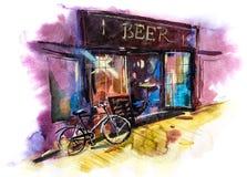 Paisaje escénico urbano del ejemplo de la acuarela de la barra o del pub de la cerveza ilustración del vector