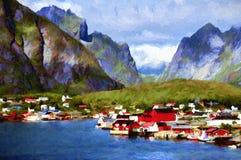 Paisaje escandinavo stock de ilustración