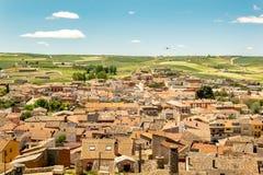 Paisaje español del pueblo en Castilla Baltanas foto de archivo