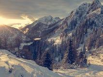 Paisaje espectacular de la montaña del invierno iluminado por el sol poniente foto de archivo libre de regalías