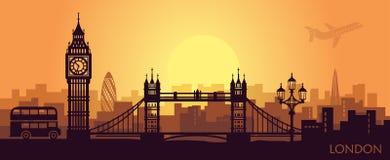 Paisaje estilizado de Londres con Ben grande, el puente de la torre y otras atracciones stock de ilustración