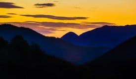 Paisaje europeo en la puesta del sol Imágenes de archivo libres de regalías