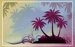 Paisaje exótico con la palma Fotografía de archivo libre de regalías