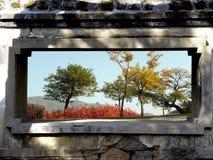 Paisaje exterior de la ventana Fotos de archivo libres de regalías