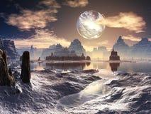 Paisaje extranjero del invierno con la luna dañada en órbita Imagenes de archivo