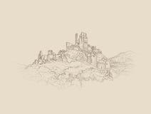 Paisaje famoso del castillo Fondo arquitectónico antiguo de las ruinas ilustración del vector