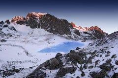 Paisaje fantástico del invierno de la tarde y de la mañana Cielo cubierto colorido Árbol nevado mágico del mundo de la belleza fotografía de archivo libre de regalías