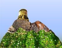 Paisaje floreciente de la montaña con un castillo stock de ilustración