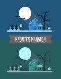 Paisaje frecuentado del místico de Halloween de la mansión Imágenes de archivo libres de regalías