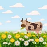 Paisaje fresco de la primavera, granja, vacas, campos, prados, margaritas y dientes de león, hierba, saludo, aislado, estilo de l libre illustration