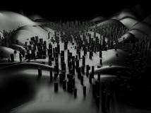 paisaje futurista del extracto del paisaje urbano 3d stock de ilustración