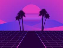 Paisaje futurista retro con las palmeras Puesta del sol de neón en el estilo de 80s Fondo retro de Synthwave Retrowave Vector ilustración del vector