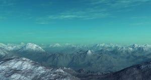 paisaje generado 3d del invierno: Montañas brumosas Imagen de archivo libre de regalías