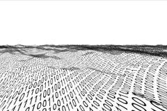 Paisaje generado Digital del código binario Fotos de archivo