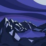 Paisaje glacial del lago de la montaña de la noche Ejemplo moderno del vector libre illustration
