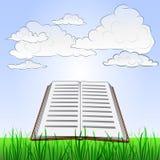 Paisaje herboso con el libro y el cielo de la historia del verano  Fotografía de archivo