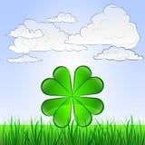 Paisaje herboso con felicidad y vector del cielo Imagen de archivo libre de regalías