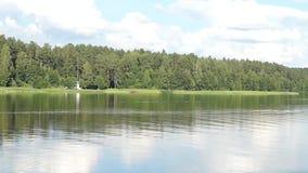 Paisaje hermoso con el bosque, paisaje ruso del lago almacen de metraje de vídeo