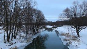 Paisaje hermoso con el río y el bosque del invierno metrajes