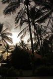 Paisaje hermoso con la casa al lado del árbol de coco en la playa en la salida del sol foto de archivo libre de regalías