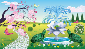 Paisaje hermoso con la fuente Lotus y las tortugas Foto de archivo