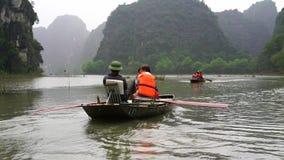 Paisaje hermoso con las rocas y los campos del arroz en Ninh Binh y Tam Coc en Vietnam almacen de metraje de vídeo