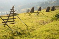 Paisaje hermoso con los pajares en una mañana soleada en el slo Foto de archivo libre de regalías