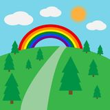 Paisaje hermoso con un arco iris Fotografía de archivo