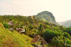 Paisaje hermoso de colinas tropicales con las chozas de madera Imágenes de archivo libres de regalías