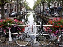 Paisaje hermoso de la cerámica de Delft vieja de la ciudad con las flores, el canal y las bicis imagenes de archivo